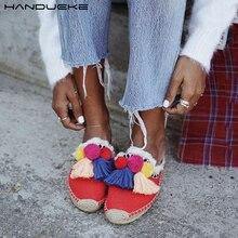 Insta Street Style Mules chaussures femmes Espadrilles 2020 été pompon sandales femmes coloré glands plage diapositives chaussures femme