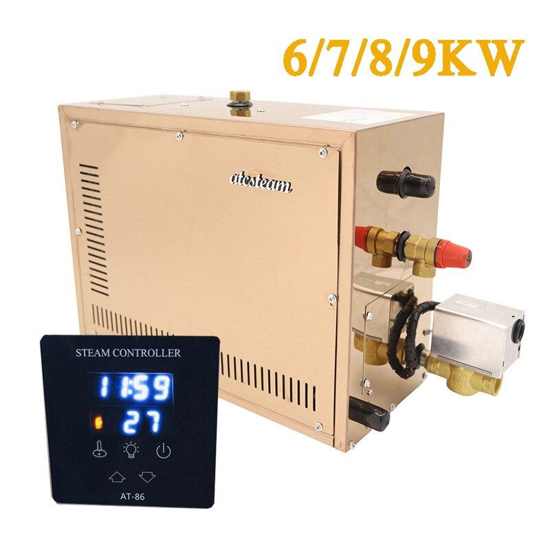 Generador de vapor automático de acero inoxidable de 9 kW, máquina de baño de vapor para sala de Sauna de descalcificación automática para controlador Digital de sala de Spa