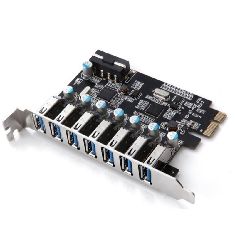 PCIe إلى USB 3.0 7-Port PCI Express بطاقة التوسع PCI-E USB3.0 Hub مع 4Pin واجهة دعم ويندوز 10,8.1,8 ، 7 ، X