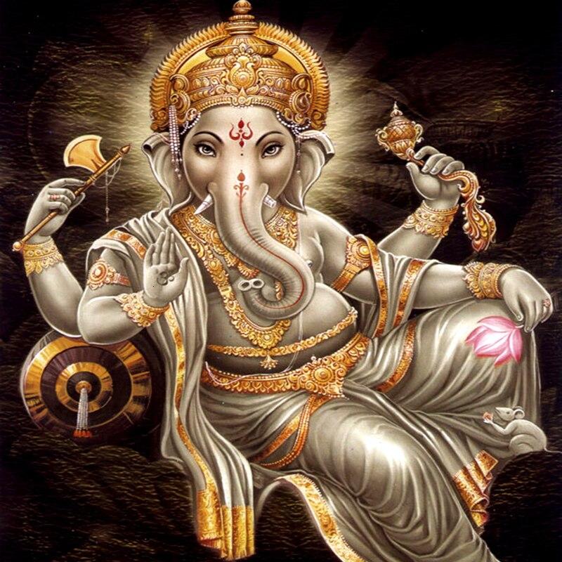 EverShine, pintura de diamantes con motivos religiosos y cuadrados, diamantes de imitación, elefante indio, Dios, íconos bordados, Cuadrado completo, adhesivo de mosaico para la pared