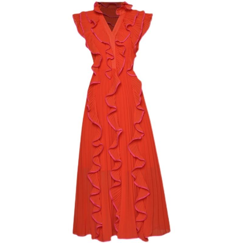 DIDACHARM فستان طويل مصمم الربيع الصيف جديد جودة عالية مطوي الكشكشة أنيقة شيك حفلة فساتين نسائية غير رسمية