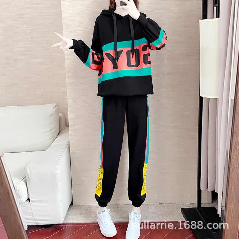 European Station Sports Suit Women's 2021 Autumn and Winter Fashion Trendy Loose Hooded Sweater Casual Pants Two-Piece