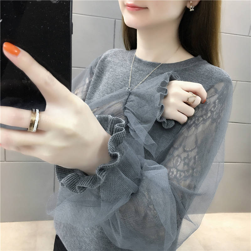 Woman Sweaters Mesh Lace Stitching Knitwear Short Sweater Women's Top Femme Chandails Pull Hiver