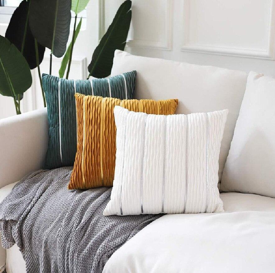 Luxo simples Listrado Capa De Veludo Travesseiro Travesseiro Caso Capa de Almofada Travesseiro Capas para Sofá Flanela Almofada Do Sofá de Veludo Capa