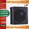 Jogo superior mini computador intel i7 8850 h i5 8300 h windows 10 2 * ddr4 2 * m.2 ssd + 1*2.5 sata nesata nuc nettop 4 k uhd hdmi dp wi-fi