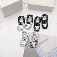 2021 new retro womens big chain earrings black white pendant earrings new exaggerated gift accessories wholesale