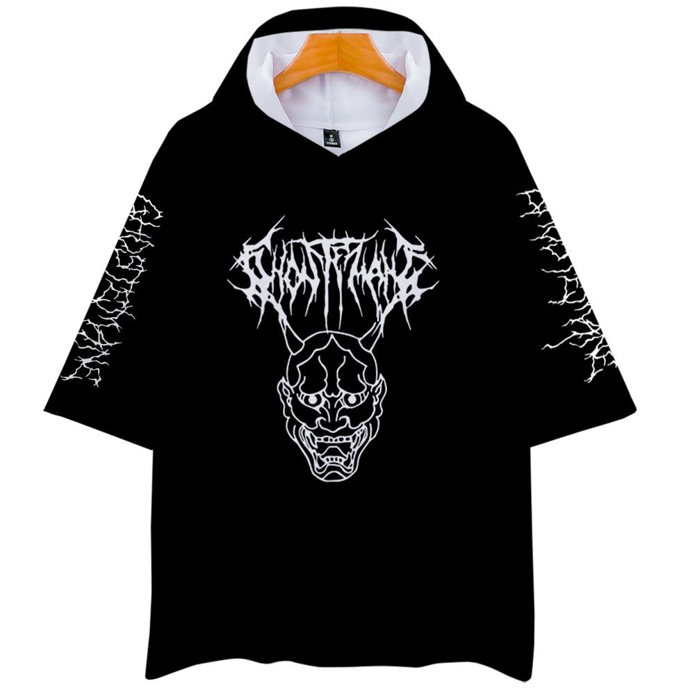 Металлический рэп стиль Ghostemane World Tour Rock Music логотип 3d принт с капюшоном для мужчин/женщин Harajuku Толстовка с коротким рукавом одежда с капюшоно...