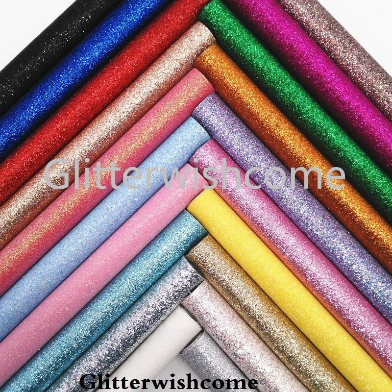 Glitterwishcome 21X29CM A4 Размер Vinilo Textil, Vinil Para Lazos, блестящий винил, тонкая блестящая ткань для бантов, GM154A