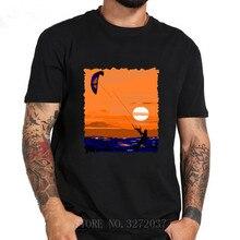 Kiteboarding cuello redondo Camiseta de manga corta 2019 verano 100% algodón cuello redondo camisetas camiseta hombres Kitesurfing camiseta