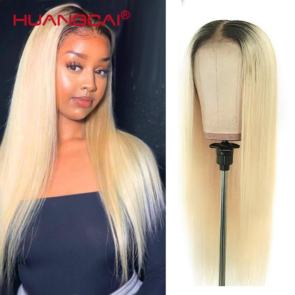 Ombre T1B/613 Blonde Lace Part Human Hair Wigs Peruvian Straight 613 Blonde 13*1 Middle Part Lace Wi
