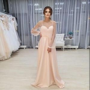 Long Sleeve A-Line Blush Pink With Pearls Wedding Dress Low Back Floor Length For Women Bridal Gowns O-Neck Charming Elegant
