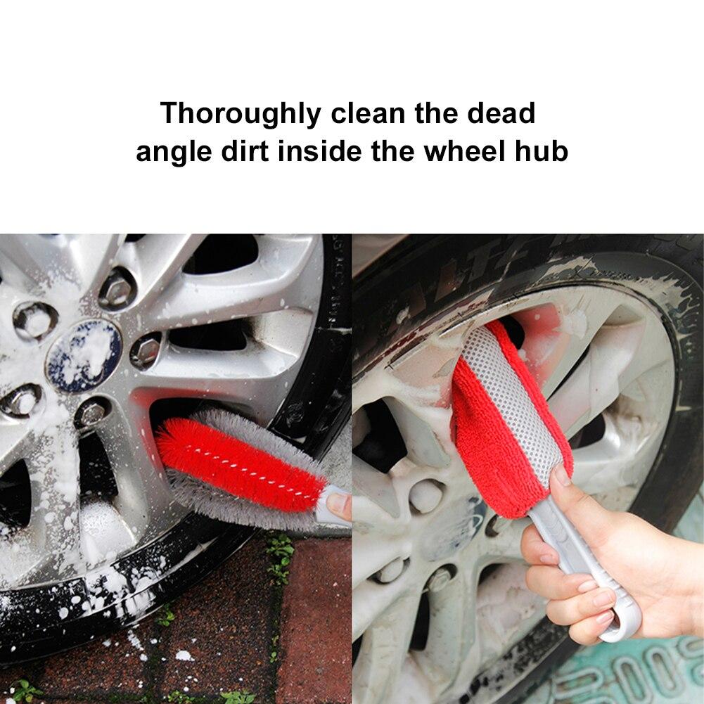 2 шт. щетка для мытья автомобиля рукоятка покрыта нескользким материалом губка с микрофиброй обод шины Щетка автохимия кисть инструмент для...