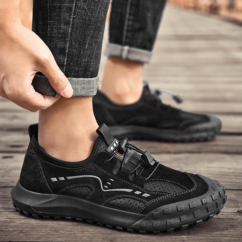 جديد نمط جلد أصلي للرجال صنادل عدم الانزلاق في الهواء الطلق حذاء رجالي كاجوال موضة رجال جلد ماء شاطئ خف مغلق من الأمام أحذية