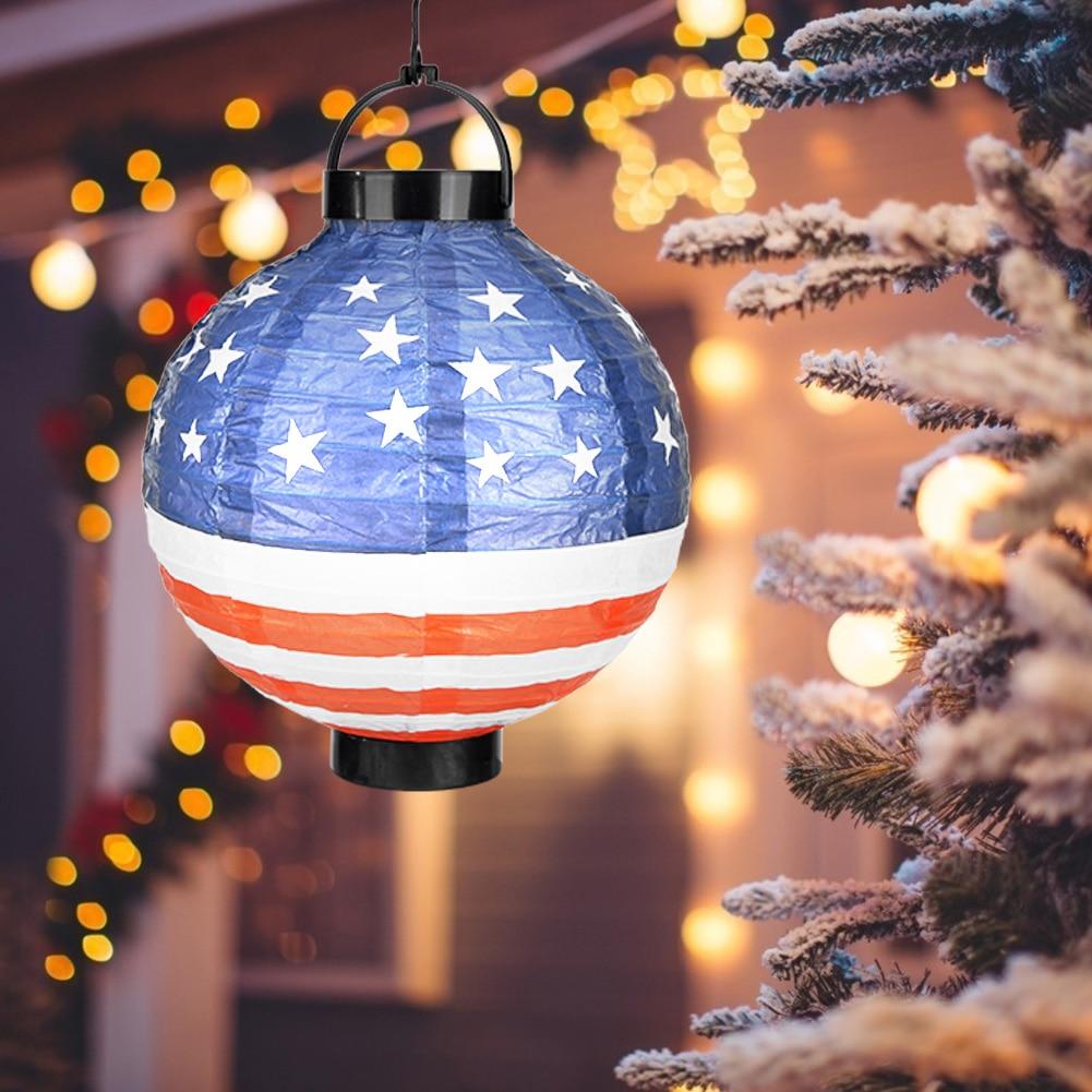 Faroles de papel de 20cm, bandera redonda americana de Santa Claus, reutilizable, DIY, lámpara colgante de luz blanca, lámpara de bola para Festival, boda, decoración del hogar
