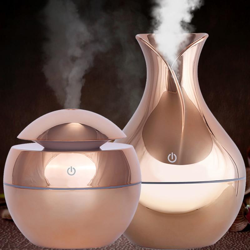 Difusor de aceite aromático USB de 130ml humidificador eléctrico de madera humidificador de aire ultrasónico mini aromaterapia LEDlight fabricante de niebla para el hogar