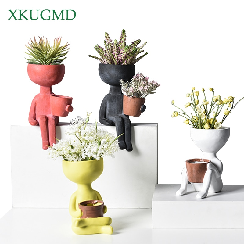 Humanoid Ceramic Flower Pot Character Sitting Posture Sculpture Vase Desktop Flower Arrangement Container Couple Gift Ornaments