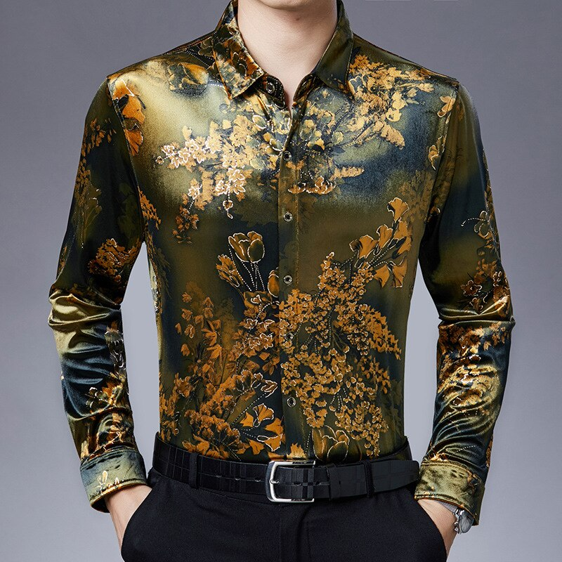 Hot Sale 2020 New Business Printing Lapel Long-sleeved Shirt Male Handsome Fashion Trendy Brand Mens