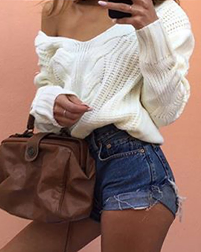 2020 Autumn Spring Women Fashion Elegant Casual Basic V Neck Solid Long Sleeve Knit Casual Sweater Warm Clothes Women 3XL