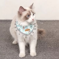 cat floral print collar adjustable neckerchief puppy necklace kitten flower cloth ribs pet accessories small dog triangle scarf