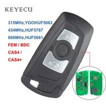 Keyecu fem bdc cas4 + chave remota inteligente 3 botão para bmw f20 f35 5 7 series, 315 mhz ygohuf5662, 434 mhz huf5767, 868 mhz huf5661