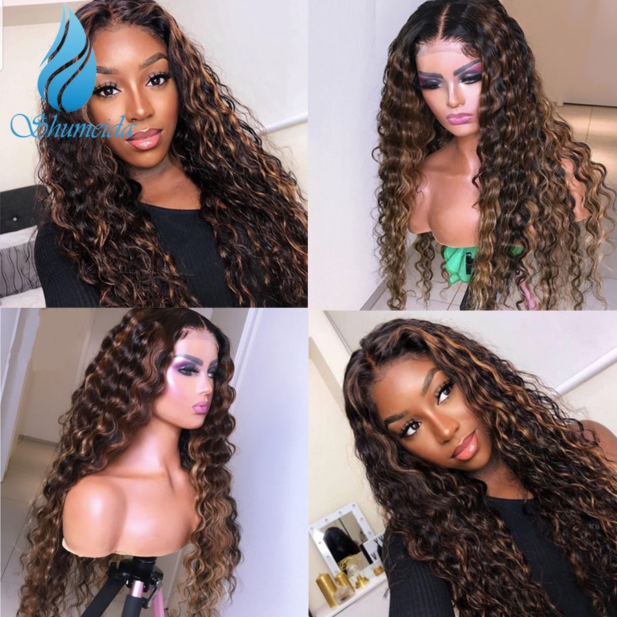 SMD 13*4 Ombre Highlight  Loose Wave  Hair Lace Front Wigs with Baby Hair 150% Density Brazilian Rem
