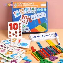 Montessori jouets pour enfants mathématiques enfants début jouets éducatifs comptage en bois autocollant enfants numéro Cognition cadeau danniversaire