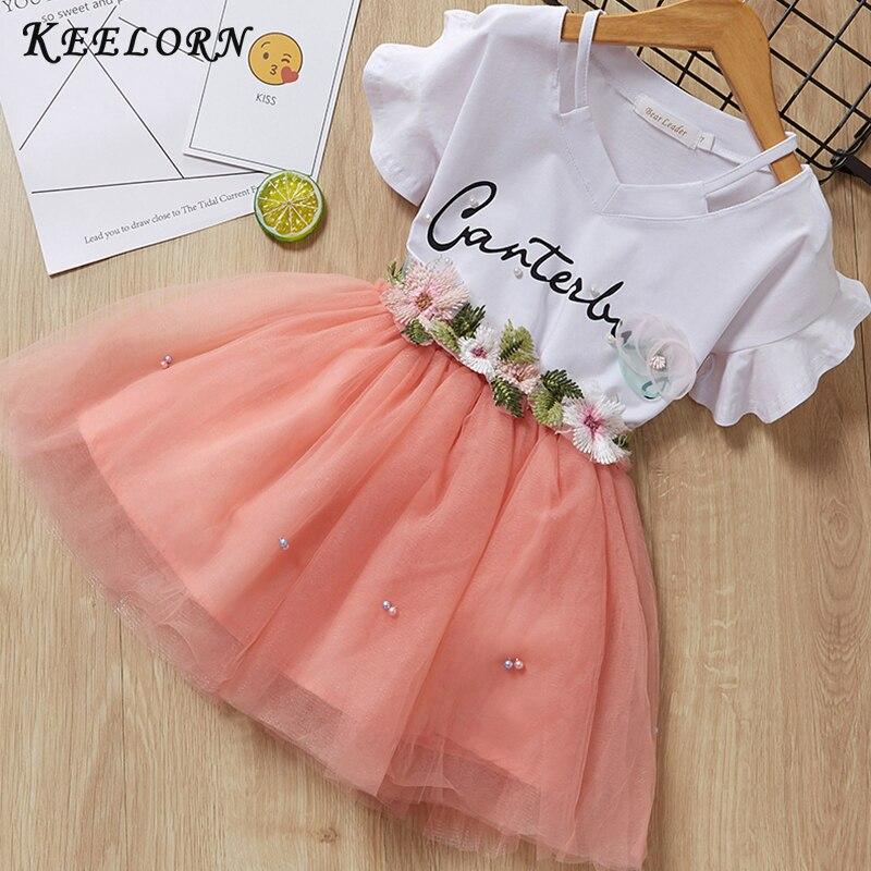 Keelorn/комплекты одежды для девочек Летняя Брендовая детская одежда 2020 футболка с короткими рукавами и цветочным принтом + платье-пачка Детские платья из 2 предметов