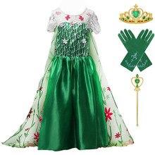 Frozem-robe de fête danniversaire Elsa   Tenue de fête danniversaire, Costume Cosplay pour filles, frocs de fleurs vertes longueur cheville, longue robe Elsa pour enfant