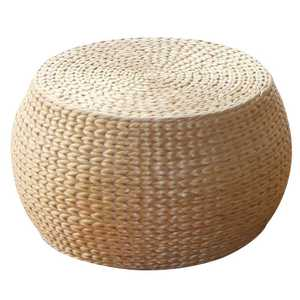 Natural Straw Handmade Cushion Living Room Round Tatami Wood Change Shoes Stool Small Coffee Table Wood Bench