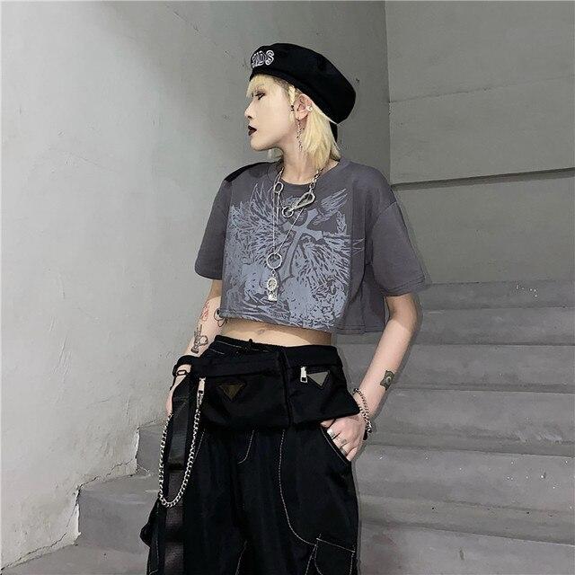 Gothic Style Crop Top Harajuku Graphic T Shirt for Women Ulzzang Korean Tshirt Summer Tee Croptop Goth Clothes Short Sleeve 2