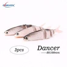 Evercatch danseur 80/100mm silicone nagappât en caoutchouc souple appâts wobblers leurre de pêche pour perche de brochet basse