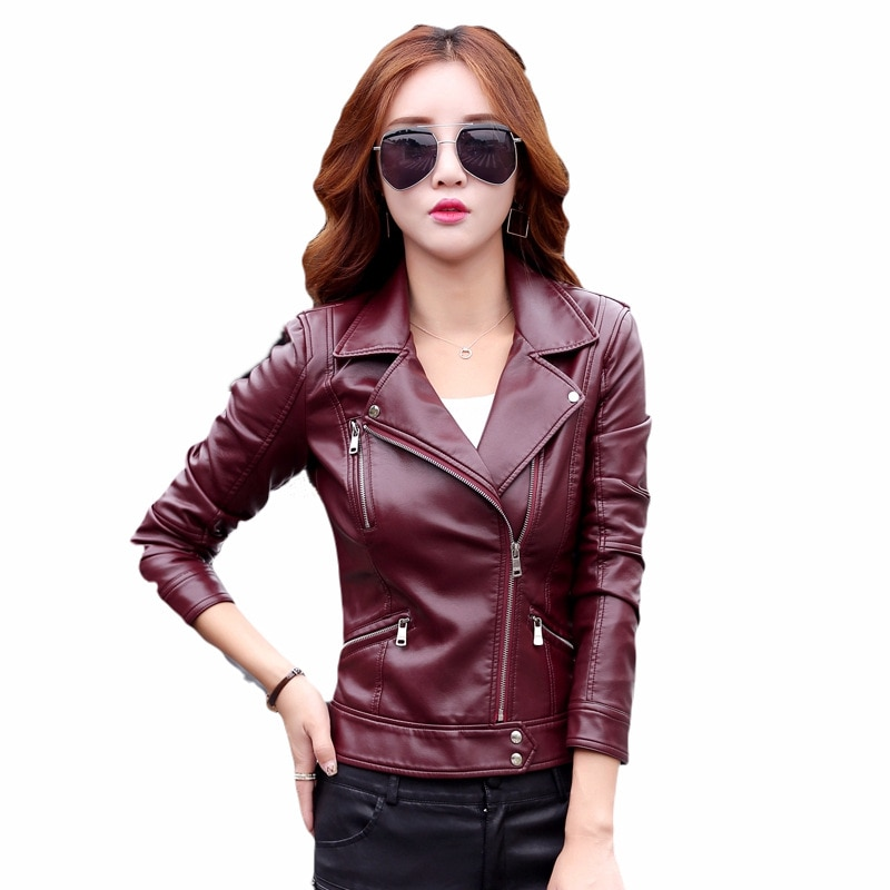 Jackets for women 2021 faux leather pu jacket women summer biker style leather jacket women Sashes leather coat women plus size
