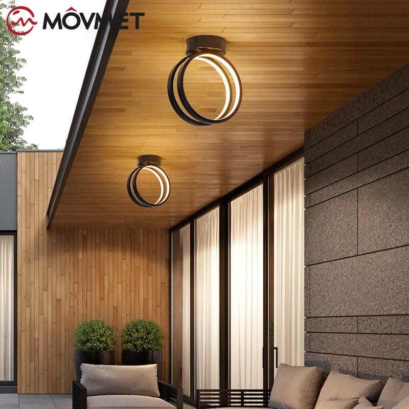 الأجهزة الحديثة 2021 أحدث أضواء السقف LED لغرفة النوم الدرج الممر الأبيض و ثرية سوداء مصابيح الثريات 18 واط ما بعد الحداثة