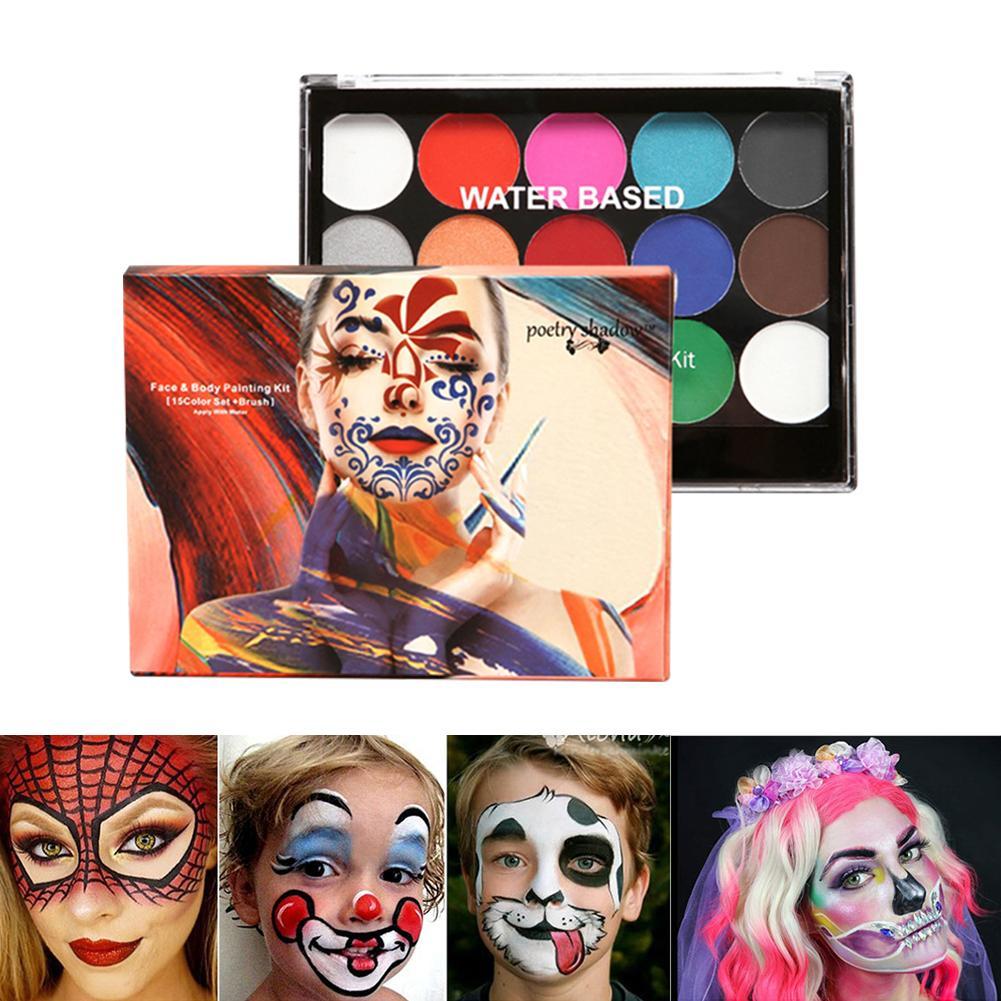 Фото - 8 цветов краска для лица 2 кисти 4 шаблонов Хэллоуин Макияж, боди-арт Краска Нетоксичная моющаяся краска косплей дети краска для лица краска