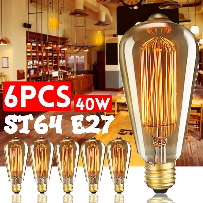 6 قطعة/صندوق ST64 E27 LED 40W عكس الضوء اديسون المصابيح العتيقة خمر خيوط المتوهجة ضوء مصباح 2200K AC220V