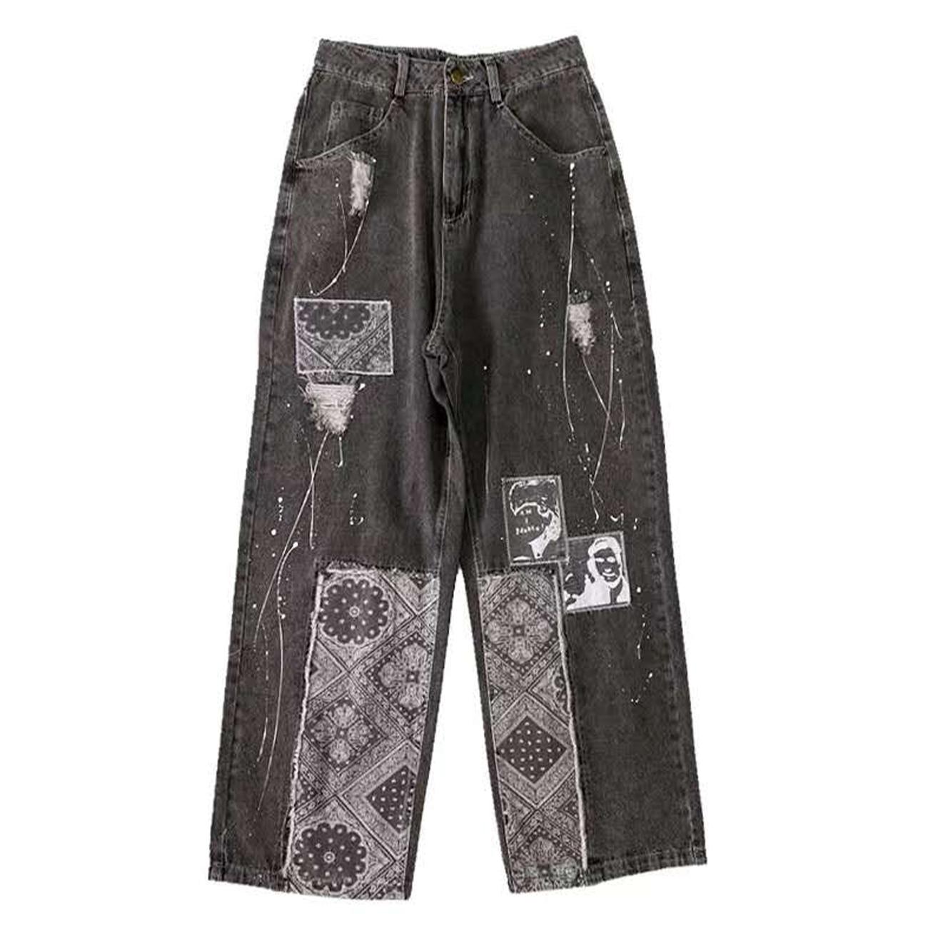 بنطلون جينز رجالي ، ملابس الشارع ، ريترو ، طباعة الكاجو ، ملابس الشارع ، Harajuku ، هيب هوب ، ركض