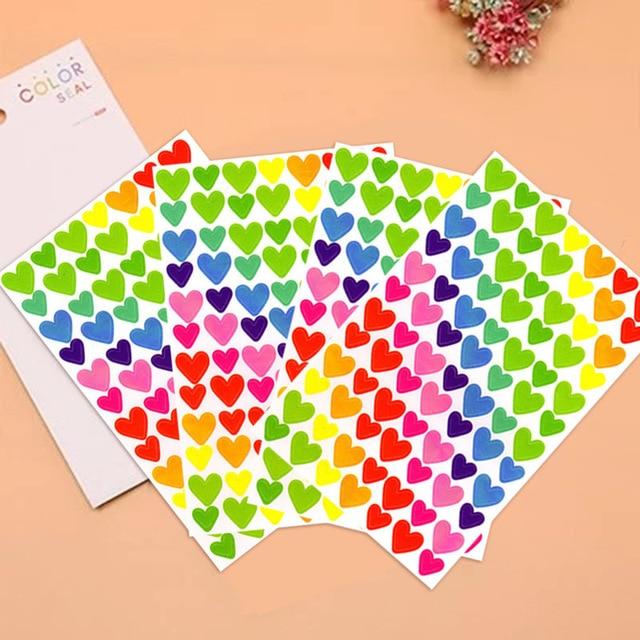 6 Sheets/lot Cute Kawaii Sticker For Photo Album Decoration Lovely Heart 6