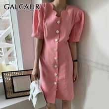 GALCAUR coreano elegante vestido para mujer cuello pico Puff manga corta alta cintura túnica rodilla longitud Vestidos Mujer 2020 moda de verano