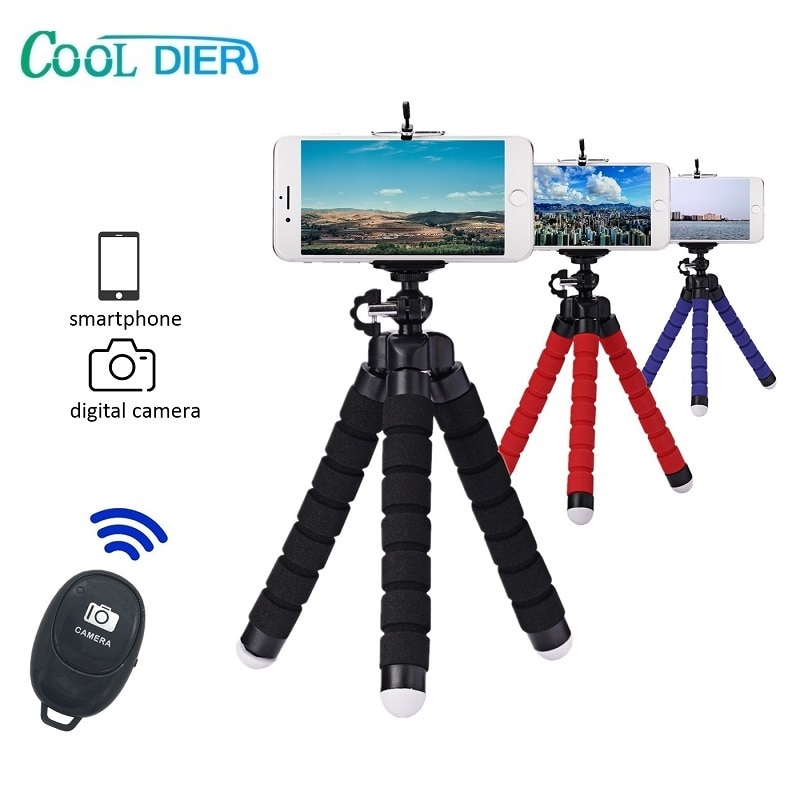 COOL DIER Mini Portable Selfie stick Tripod For Smartphone Monopod With Bluetooth shutter For Gopro camera