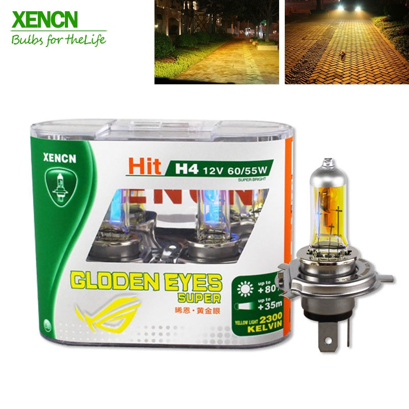 XENCN H4 12V 60/55W P43t 2300K Halogen Headlihgt Replace Upgrade Super Yellow Light Car Bulbs Free S
