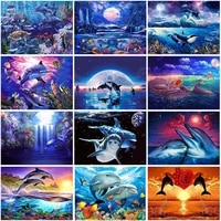 5d diamond painting dolphin full square round diamond embroidery animals pictures rhinestone mosaic cross stitch home decor gift