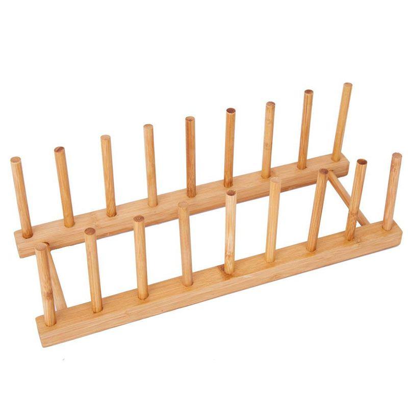 ABSS-plato de bambú cuenco taza de libro tapa de la olla tabla de corte estante de secado soporte escurridor sostenedor de almacenamiento organizador gabinete de cocina (Ke