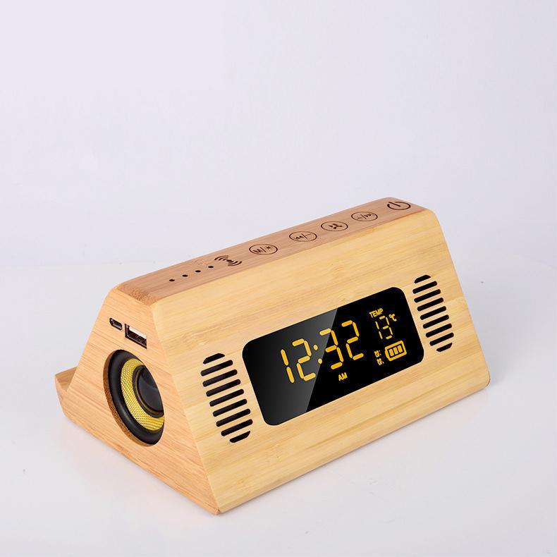 Reloj despertador teléfono cargando voz Broadcast Bluetooth altavoz FM Radio Digital temperatura táctil pantalla Retro despertador relojes de mesa