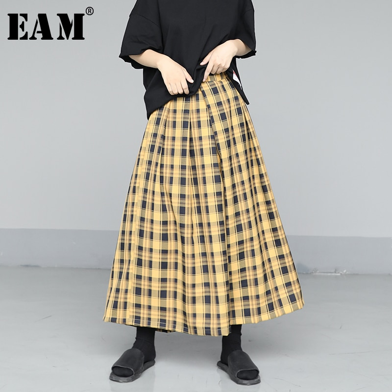 [EAM] High Elastic Waist Yellow Plaid Split Wide Leg Trousers New Loose Fit Pants Women Fashion Tide Spring Summer 2020 1U681