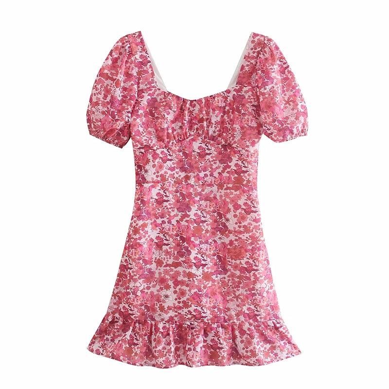 Nlzgmsj Za Dress Woman Summer Elegant Dresses Puff Sleeve Ruffles High Waist Vintage Romantic Flower Print Sundresses 202105