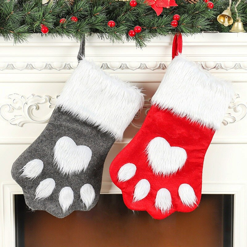 Christmas Plush Stockings Cute Dog Claw Shape Socks Christmas Gift Bag Home Decoration Gift Holders