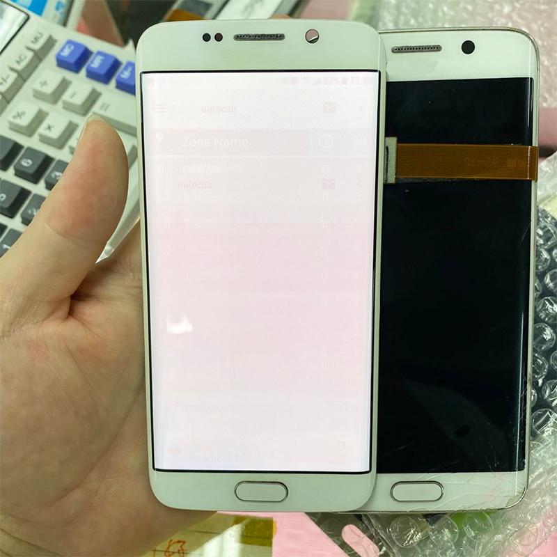 5.1 ''G925F عرض لسامسونج غالاكسي S6 حافة LCD عرض مع الإطار SM-G925F G925A عرض تعمل باللمس الأحمر الظلال