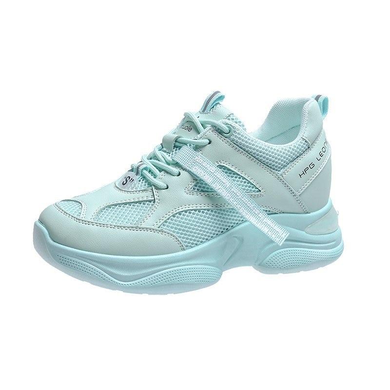 Frauen Plattform Turnschuhe Mode Mesh Casual Schuhe Chunky Sneaker Damen Weiß Vulkanisierte Schuhe Frau Spitze Up Blau Trainer 5cm