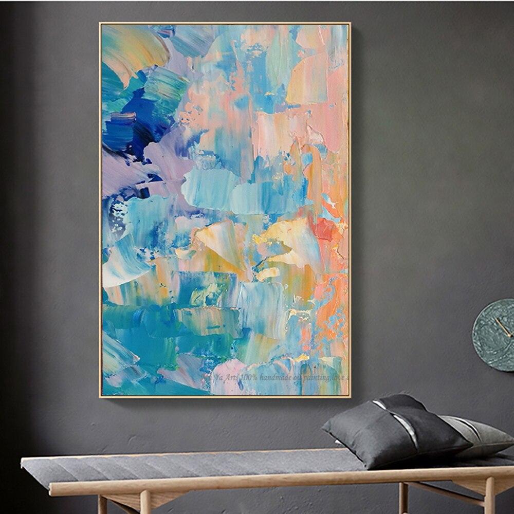 Pinturas al óleo abstractas pintadas a mano, láminas decorativas, cuadros, lienzo Vintage,...