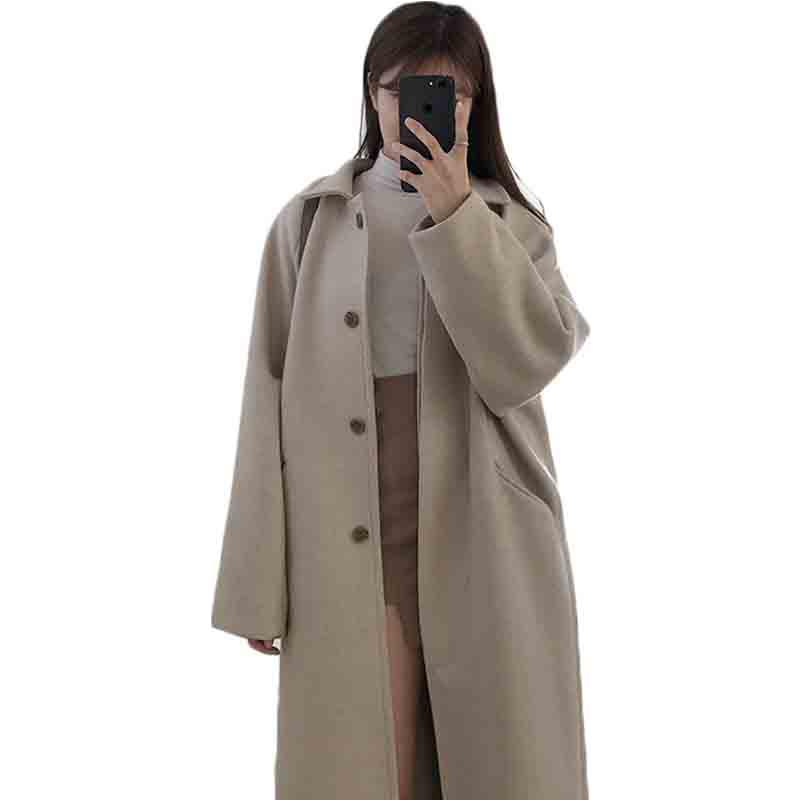Suoifun طويل مكتب سيدة الصلبة كامل فضفاض 2021 جديد موضة المرأة الخريف الشتاء الكورية واحدة الصوف مزيج معطف أبلى معاطف